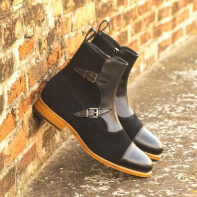Custom Made Goodyear Welted Octavian Boot in Black Luxe Suede with Black Painted Calf Leather