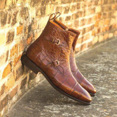 Custom Made Goodyear Welted Octavian Boot in Medium Brown Genuine Alligator