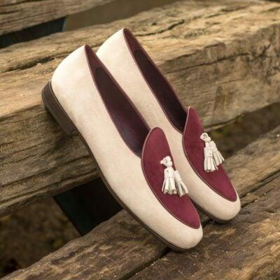 Custom Made Men's Belgian Slipper in Ivory and Wine Suede