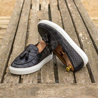 Custom Made Men's Belgian Sneaker in Black Painted Croco Embossed Calf
