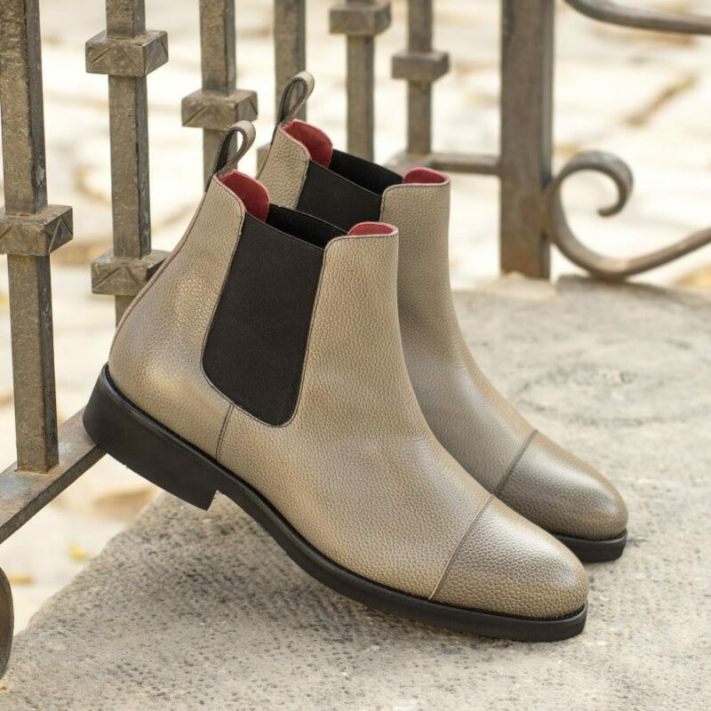 Custom Made Men's Chelsea Boot Classic in Grey Painted Full Grain Leather