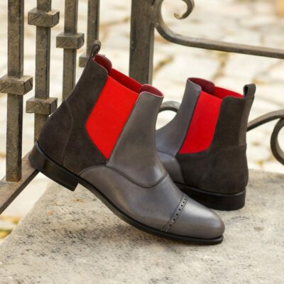 Custom Made Men's Chelsea Boot Multi in Grey Painted Cald and Grey Luxe Suede