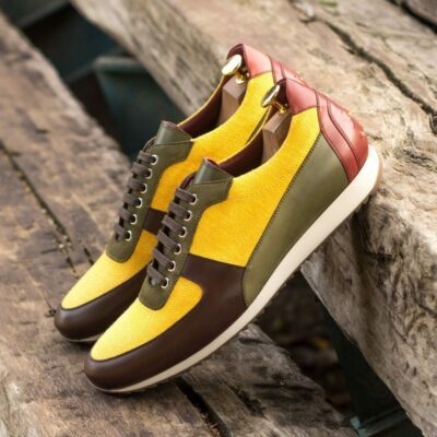 Custom Made Men's Corsini Jogger in Mustard Linen and Olive Painted Calf with Dark Brown Box Calf and Red Painted Calf