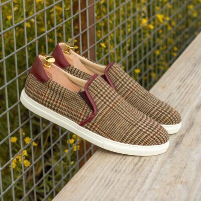 Custom Made Men's Cupsole Slip On in Tweed with Burgundy Box Calf
