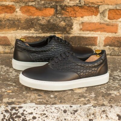 Custom Made Men's Cupsole Top Sider in Black Painted Calf and Black Croco Embossed Calf Leather