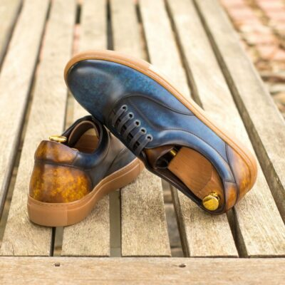 Custom Made Men's Cupsole Top Sider in Italian Calf Leather with a Denim Blue and Cognac Hand Patina
