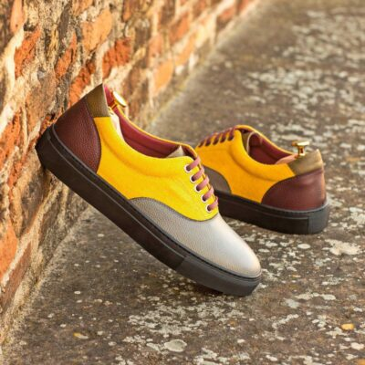 Custom Made Men's Cupsole Top Sider in Mustard Linen with Multi Color Pebble Grain Leather