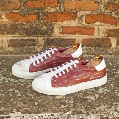Custom Made Men's Cupsole Trainer in Red Painted Calf and White Box Calf with Stencil Art and White Patent Leather