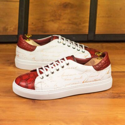 Custom Made Men's Cupsole Trainer in White Painted Calf with Stencil Art and Red Croco