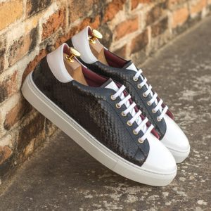 Custom Made Men's Cupsole Trainers in Black Genuine Python with White Patent Leather