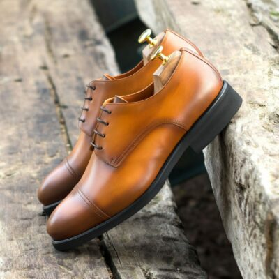 Custom Made Men's Derby in Burnished Cognac Painted Calf Leather