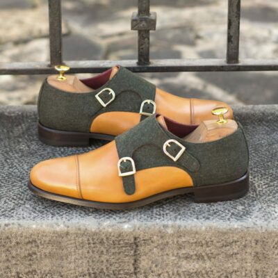 Custom Made Men's Double Monks in Cognac Painted Calf and Green Flannel