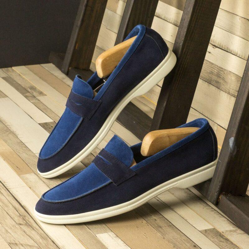 Custom Made Men's Flex Sport Moccasin in Marine Blue and Cobalt Blue Suede