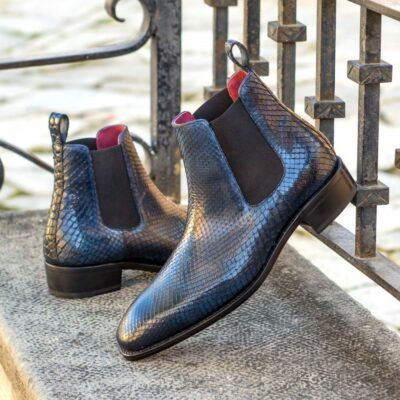 Custom Made Men's Goodyear Welt Chelsea Boot in Navy Blue Genuine Python with Navy Blue Painted Croco