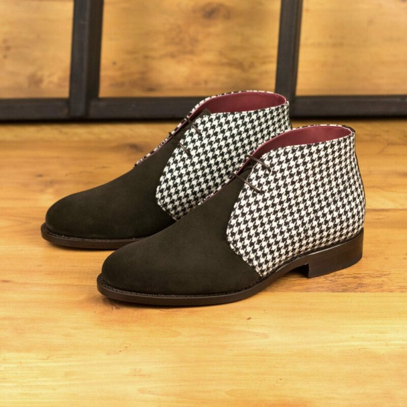 Custom Made Men's Goodyear Welt Chukka Boots in Dark Brown Luxe Suede and Houndstooth Wool