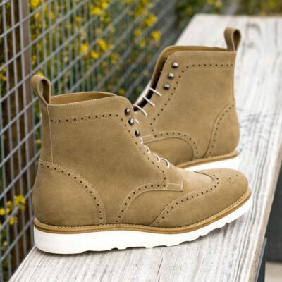 Custom Made Men's Goodyear Welt Military Brogue Boot in Camel Luxe Suede