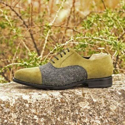 Custom Made Men's Goodyear Welt Oxford in Khaki Kid Suede with Herringbone