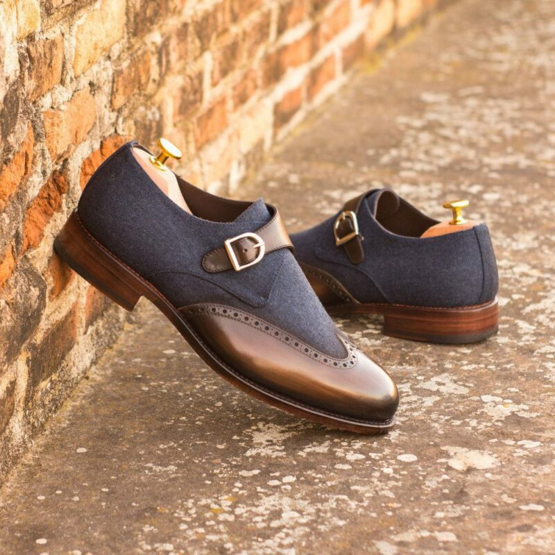 Custom Made Men's Goodyear Welt Single Monks in Italian Calf Leather with a Brown Hand Patina and Denim Jeans