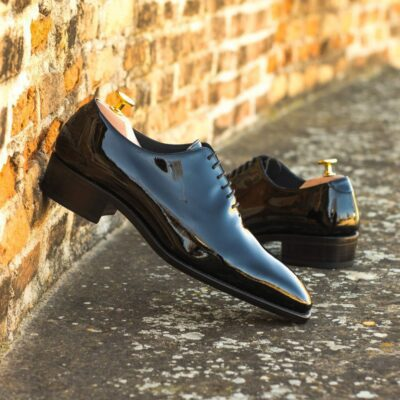 Custom Made Men's Goodyear Welt Wholecut Dress Shoes in Black Patent Leather with Higher Heel