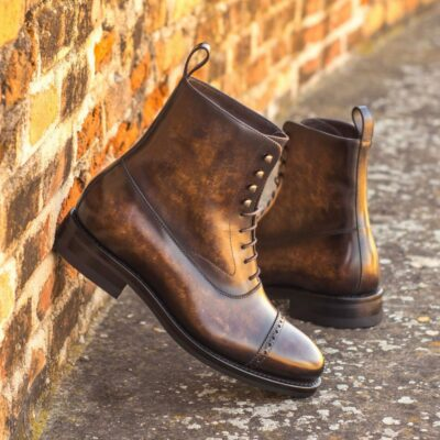 Custom Made Men's Goodyear Welted Balmoral Boot in Italian Calf Leather with a Brown Marbled Hand Patina