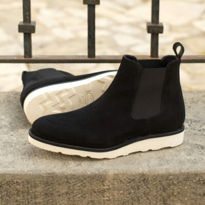 Custom Made Men's Goodyear Welted Chelsea Boot Classic in Black Luxe Suede