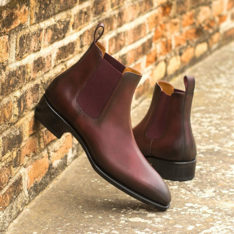 Custom Made Men's Goodyear Welted Chelsea Boot Classic in Burnished Burgundy Painted Calf with Metal Toe Taps