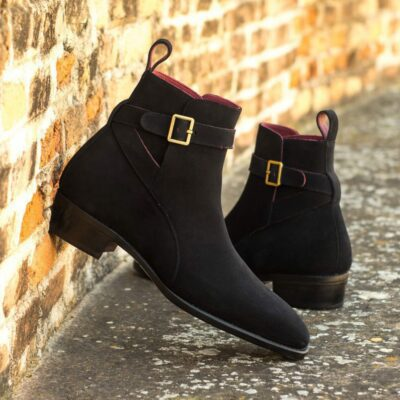 Custom Made Men's Goodyear Welted Jodhpur Boot in Black Luxe Suede