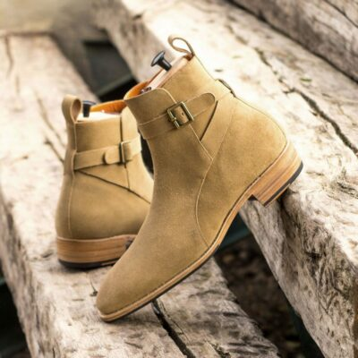 Custom Made Men's Goodyear Welted Jodhpur Boot in Camel Luxe Suede