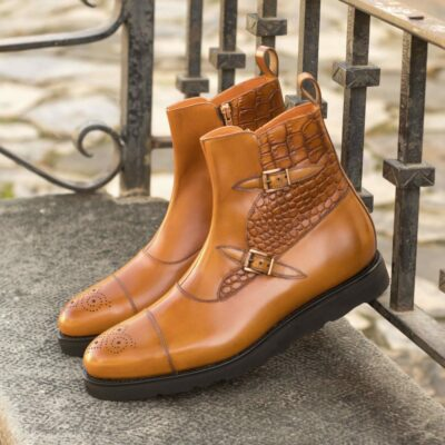 Custom Made Men's Goodyear Welted Octavian Boot in Cognac Polished Calf with Cognac Painted Croco Embossed Calf