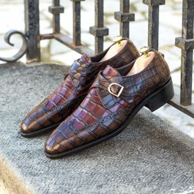 Custom Made Men's Goodyear Welted Single Monk in Burgundy and Dark Brown Painted Croco Embossed Calf Leather