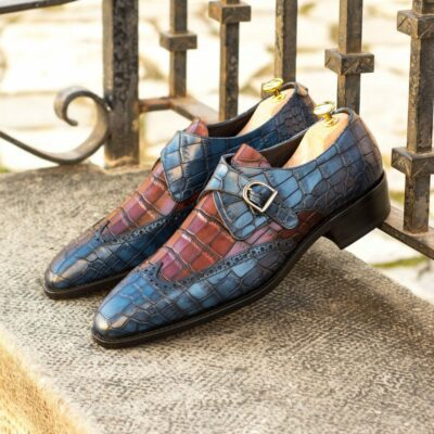 Custom Made Men's Goodyear Welted Single Monk in Navy Blue and Burgundy Painted Croco Embossed Calf Leather