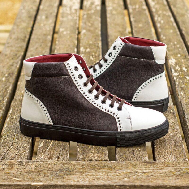 Custom Made Men's High Kick in Black Painted Full Grain and White Box Calf Leather