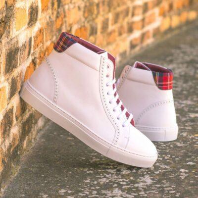 Custom Made Men's High Kick in White Box Calf with Tartan