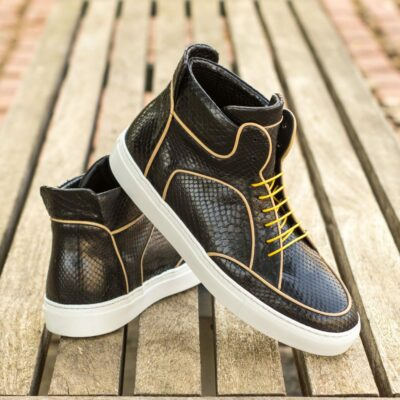 Custom Made Men's High Top Multi in Black Genuine Python with Beige Calf Leather