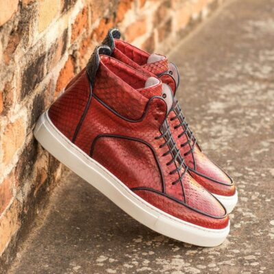 Custom Made Men's High Top Multi in Red and Navy Blue Genuine Python