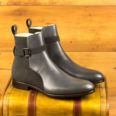 Custom Made Men's Jodhpur Boot in Grey Luxe Suede and Grey Painted Calf Leather