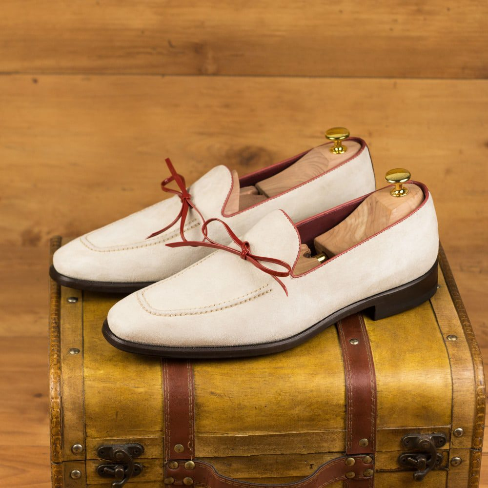 Custom Made Men's Loafers in Ivory Kid Suede with Red Painted Calf Leather