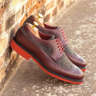 Custom Made Men's Longwing Blucher in Burgundy Box Calf with Nailhead Wool