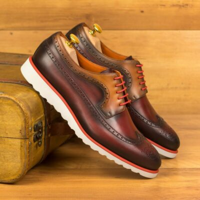 Custom Made Men's Longwing Blucher in Burnished Red and Cognac Painted Calf