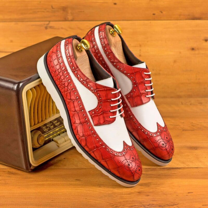 Custom Made Men's Longwing Blucher in Red Painted Croco with White and Black Box Calf