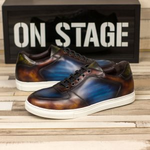 Custom Made Men's Low Top Trainer in Italian Calf Leather with Multi Color Hand Patina
