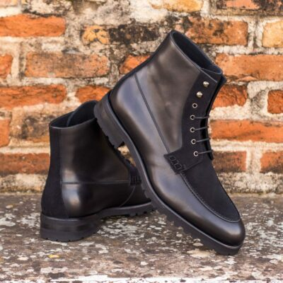 Custom Made Men's Moc Boot in Black Box Calf and Black Luxe Suede