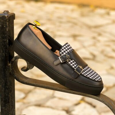 Custom Made Men's Monk Sneaker in Black Polished Calf with Houndstooth