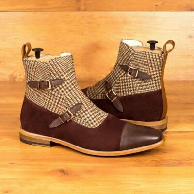 Custom Made Men's Octavian Boot in Burgundy Luxe Suede and Tweed with Dark and Medium Brown Painted Calf