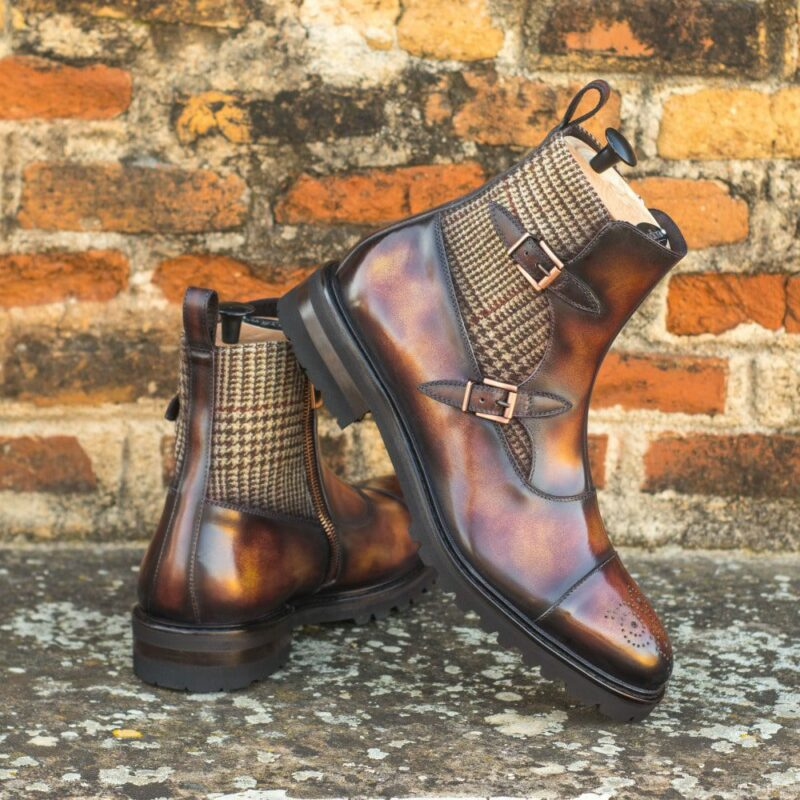 Custom Made Men's Octavian Boot in Italian Calf Leather with Fire Museum Hand Patina Finish and Tweed