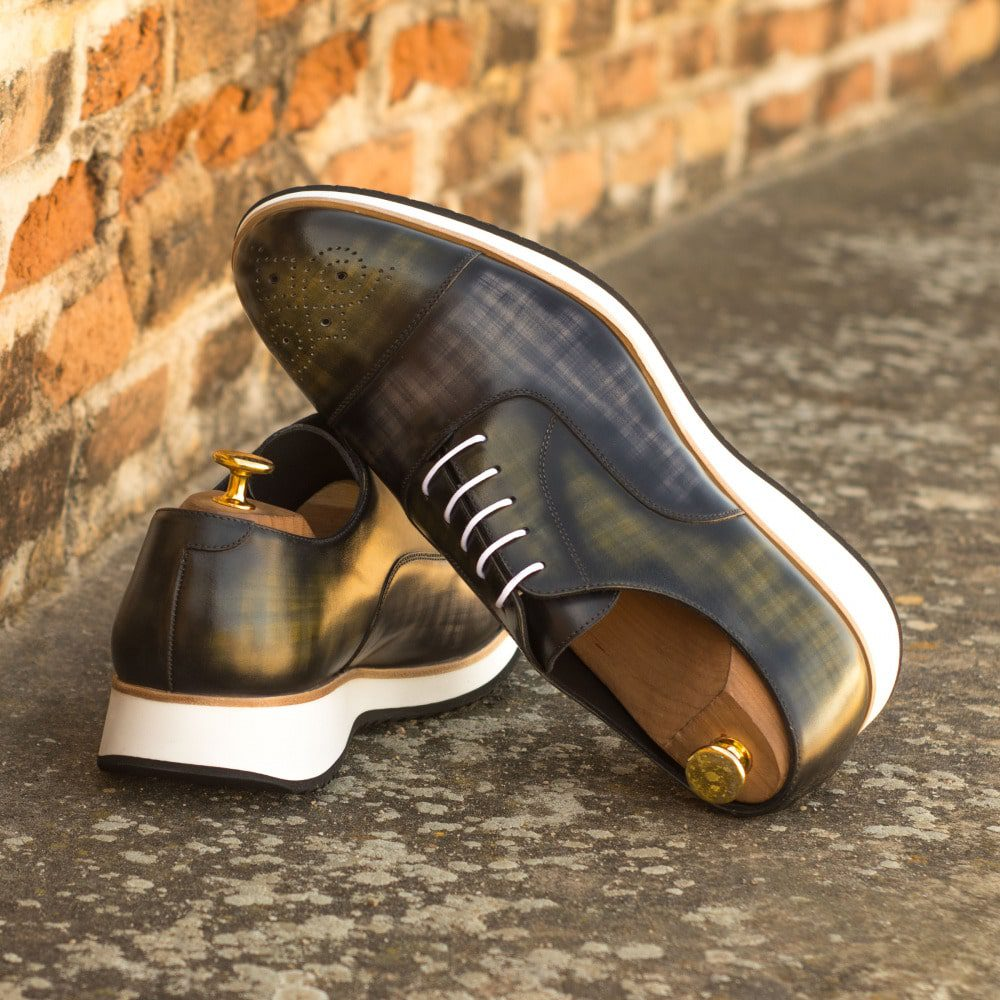 Custom Made Men's Oxford in Italian Calf Leather with a Grey and Khaki Hand Patina Finish
