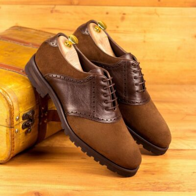Custom Made Men's Saddle Shoes in Dark Brown Full Grain Leather and Medium Brown Luxe Suede