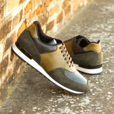 Custom Made Men's Sneaker in Black Polished Calf and Olive Painted Calf Leather with Camo Flannel