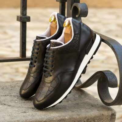 Custom Made Men's Sneaker in Black Polished Calf with Black Croco Embossed Calf Leather