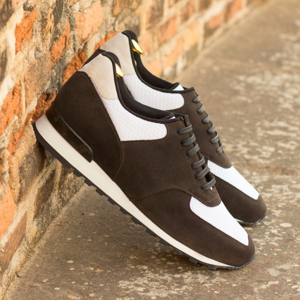 Custom Made Men's Sneaker in Dark Brown Luxe Suede with White Kid Suede